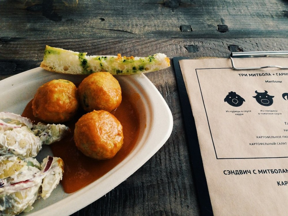 Chicken meatballs with a side of potato salad