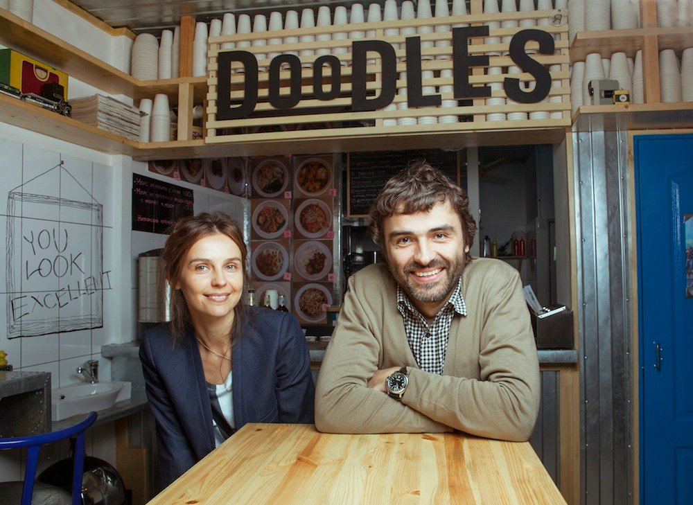 Yevgeny and Galina Denisov, founders of Doodles cafe