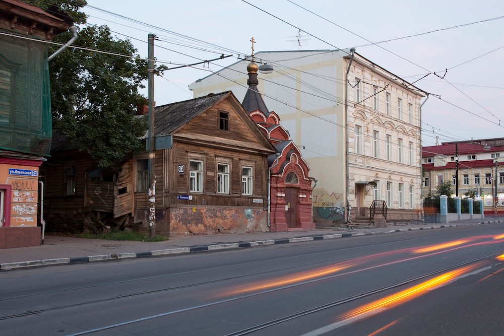 Wooden houses on Ilyinskaya Street