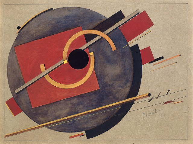 Preliminary sketch for a poster, by El Lissitzky