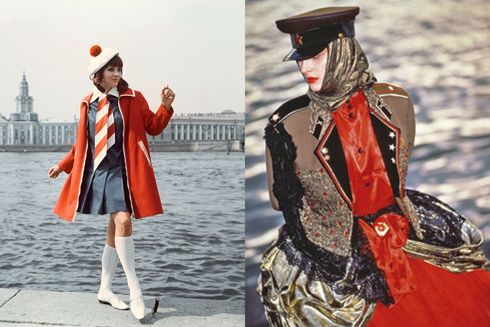 Red in fashion. Left — A woman wearing a red coat on the Neva, St Petersburg (1960s). Right — an example of red used in perestroika fashion (1980s).