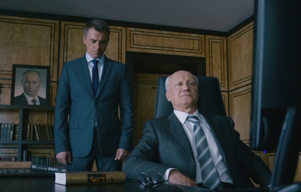 Still from <em> Sleepers </em> showing Igor Petrenko as FSB colonel Andrei Rodionov (left) and Yuri Belyaev (right) as his boss
