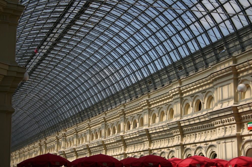 GUM shopping centre in Moscow. Photograph: Lars Soltek under a CC licence. Roof designed by Shukhov.