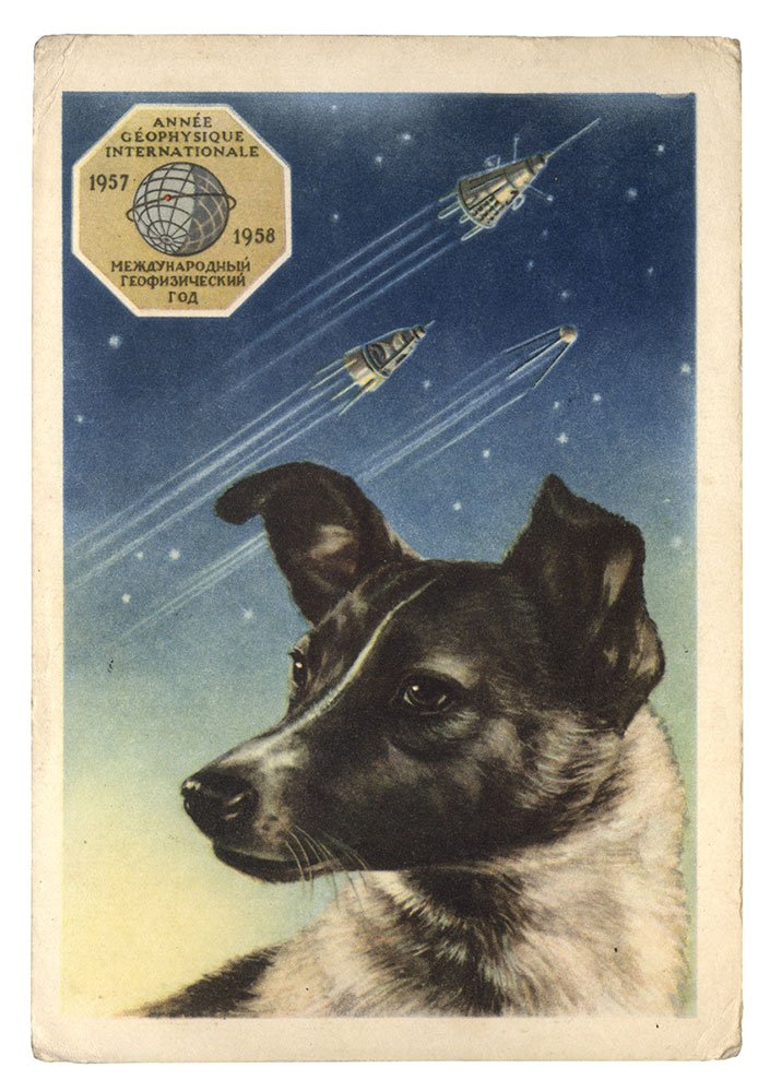 A portrait of Laika by artist E. Gundobin, with the first three Sputniks in the background (1958)