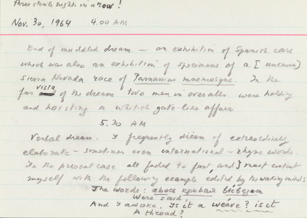 A flash card with Nabokov's recollections about his dreams. Photo: from the Berg Collection of English and American Literature, The New York Public Library, Astor, Lenox and Tilden Foundations. Copyright © the Dmitri Nabokov Estate. Used by permission of The Wylie Agency, LLC