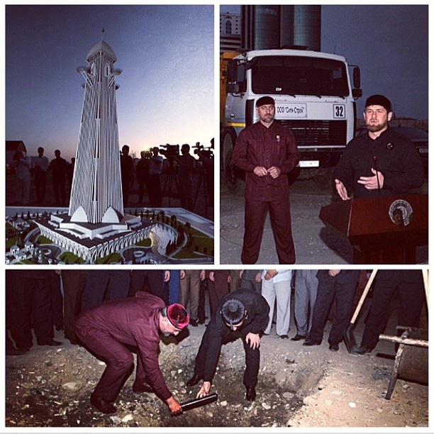 Kadyrov places a time capsule in the foundations of a planned skyscraper