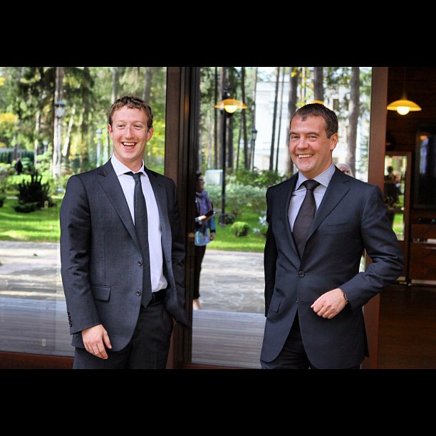 Medvedev pleased to be photographed with Mark Zuckerberg