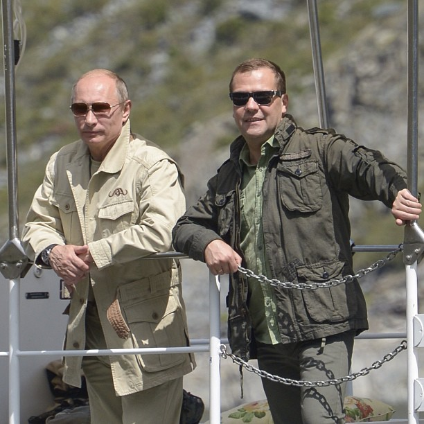 Dmitry Medvedev fishing with a friend