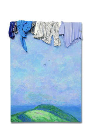 Ilya Kabakov, Landscape with Mountains (1989). Cloth, oil and enamel on masonite. Ilya & Emilia Kabakov Collection