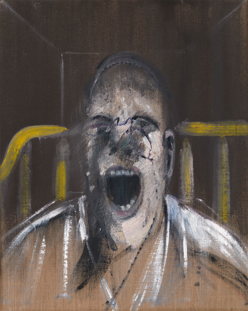 Francis Bacon, <em>Study for the Head of a Screaming Pope</em>, 1952. Courtesy of Estate of Francis Bacon