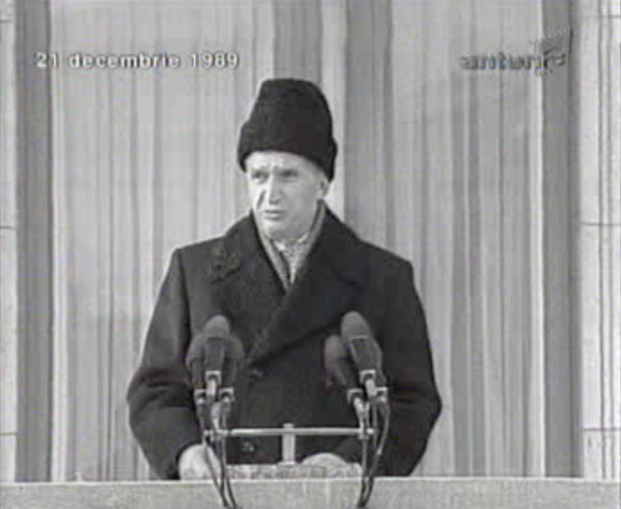 Romanian dictator Nicolae Ceauşescu delivering his last speech in 1989