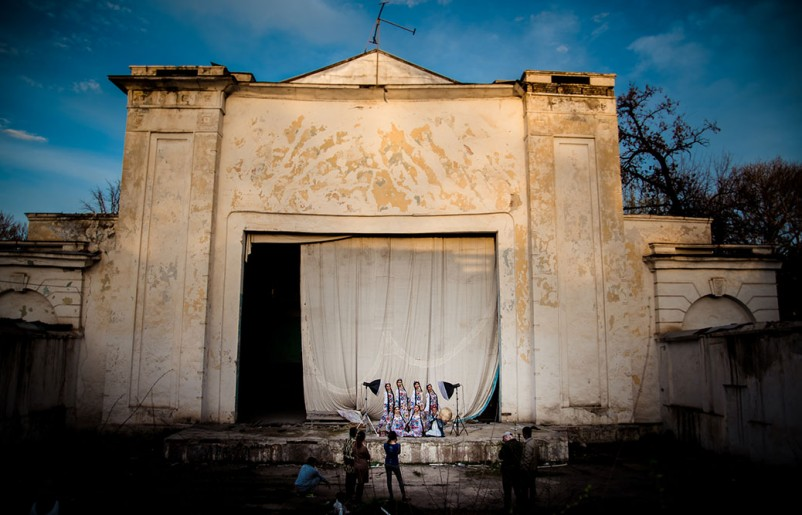 Padida dance group at an abandoned summer theater in Dushanbe