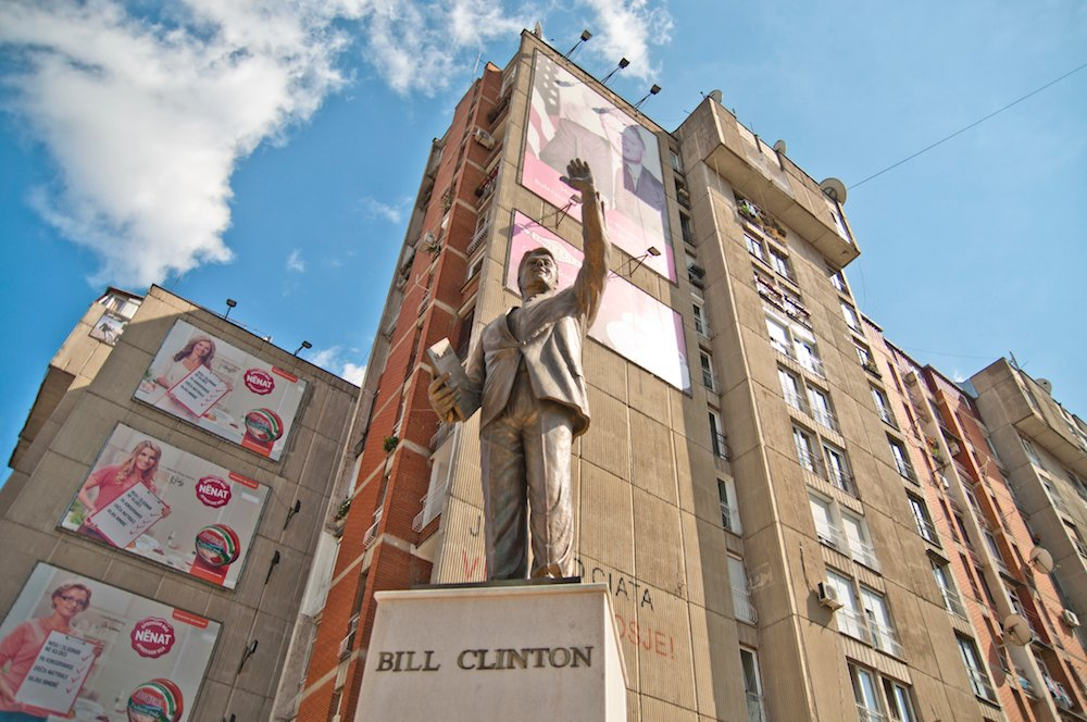 Statue to former US President Bill Clinton in Prishtina. Image: Marco Fieber under a CC licence