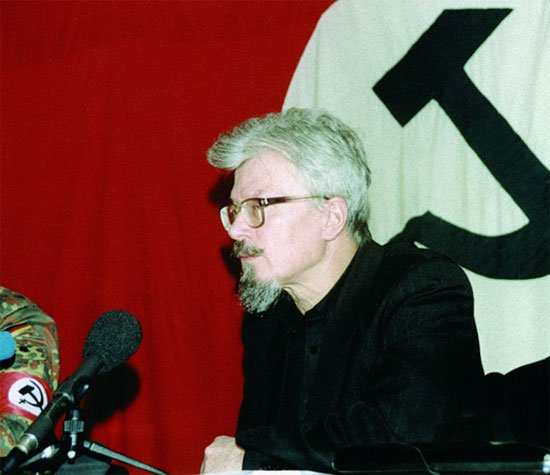Eduard Limonov is a Soviet emigre writer known for his provocative prose, who has, since the fall of the USSR returned to Russia and became a leader of the controversial far-right movement that calls itself National Bolshevik, having participated in anti-government protests before becoming a passionate supporter of Vladimir Putin.