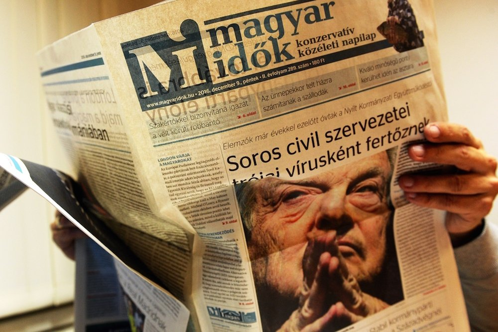 The <em>Magyar Idők</em> newspaper is fiercely pro-government and has been the source of many initial attacks on cultural figures. Image: Nepszava.hu