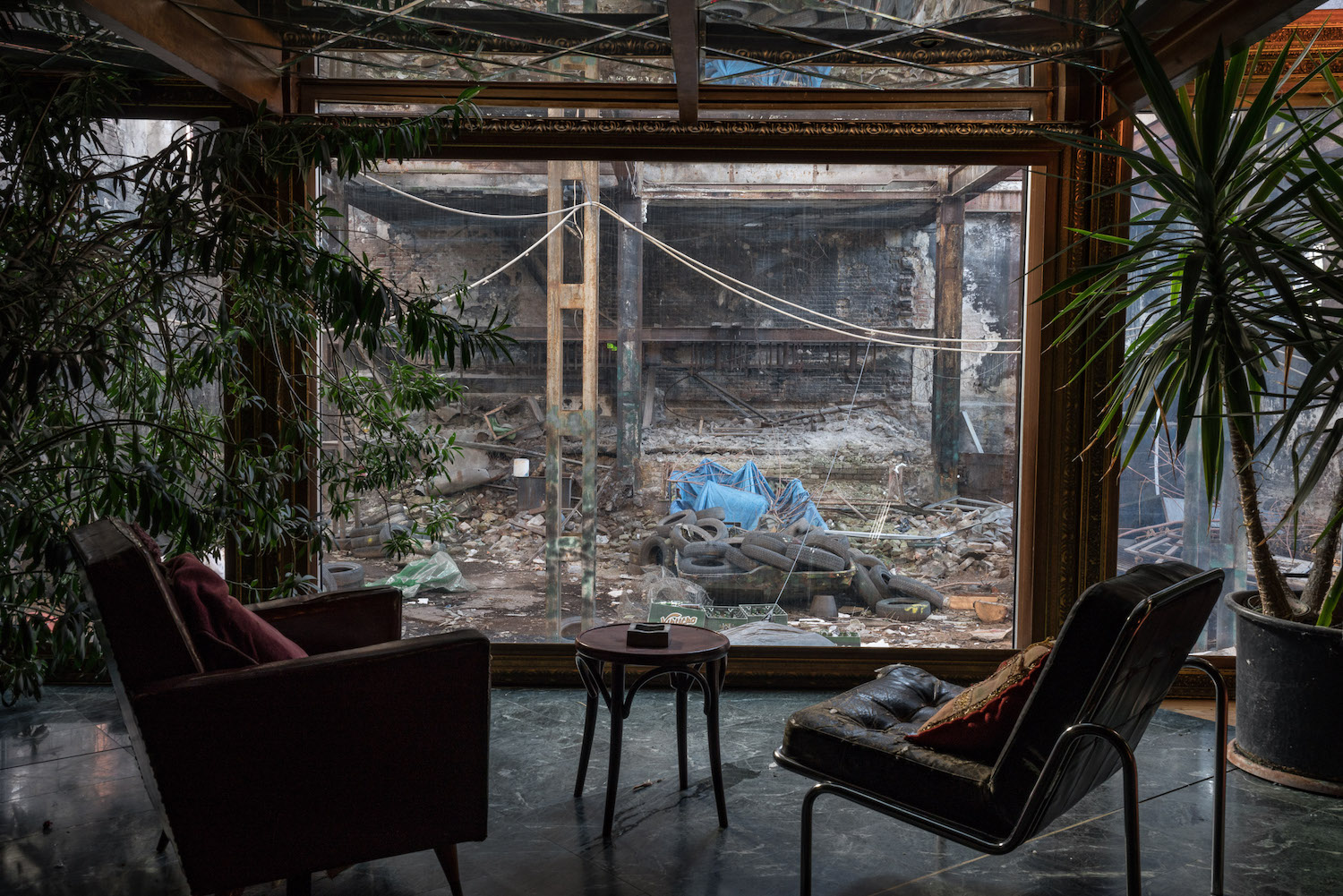 A window looking out to the undeveloped section of the Sugar Factory