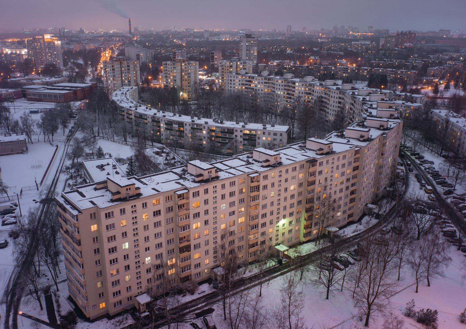 Moody postcards of sprawling Soviet housing blocks photographed at 'blue hour'