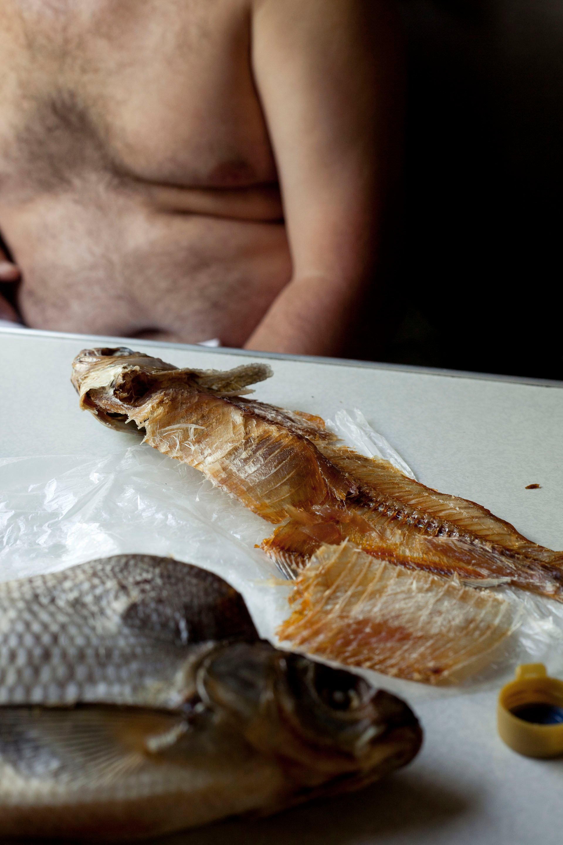 Dried fish eaten by construction workers on their multi-day train commute from work to home