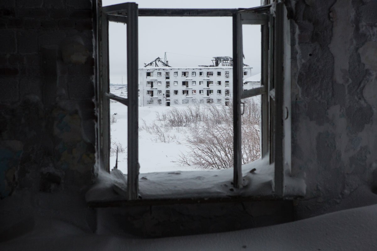 Abandoned residential buildings on the Vorkuta Ring
