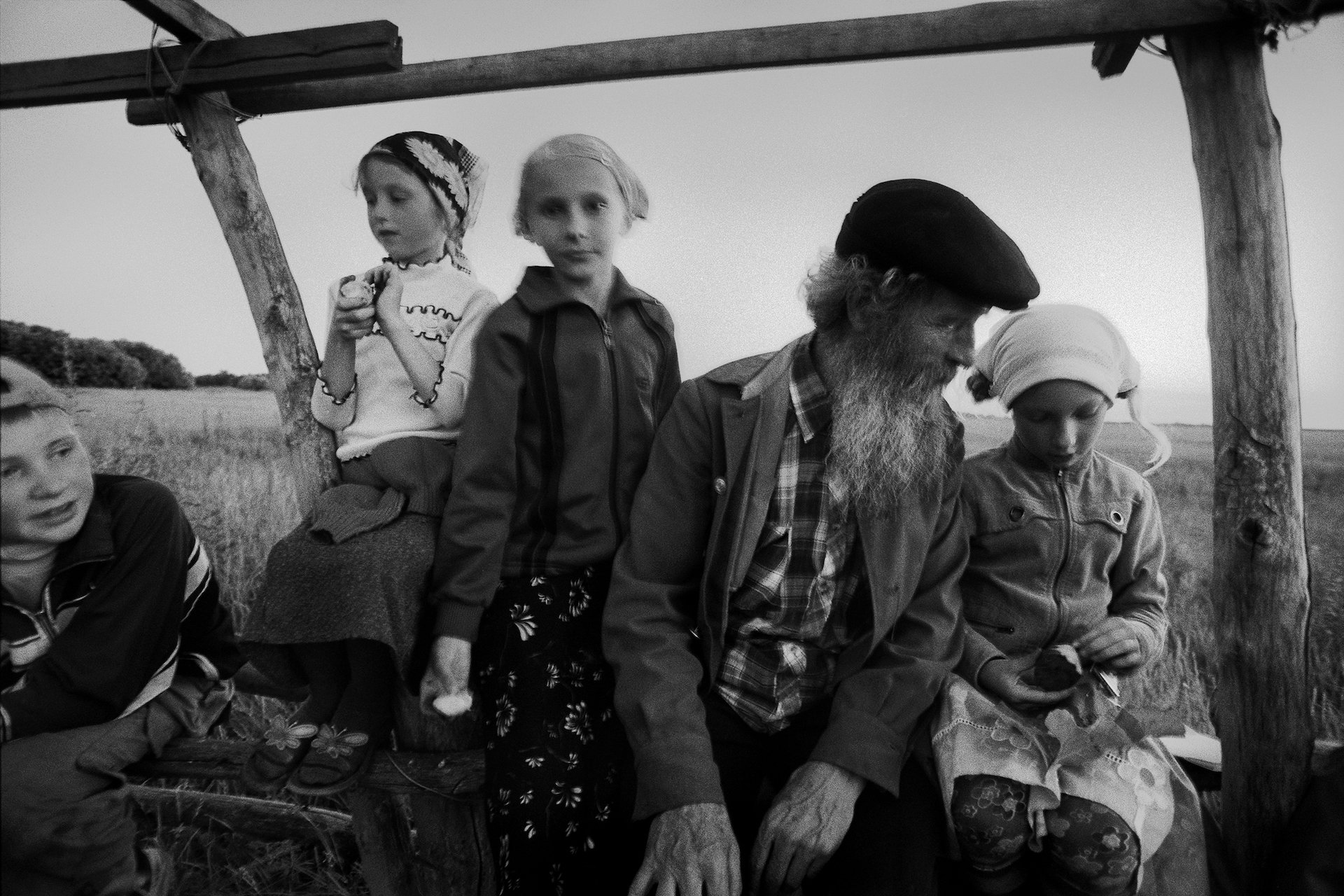 Children and Mentor, village of Poteryaevka, Mamontovo district, Altai territory, Russia (2008)