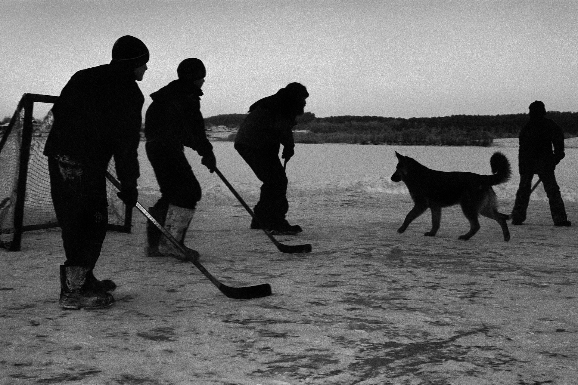 Hockey on the lake, village of Pogost, Pudozh district, Karelia, Russia (2009)