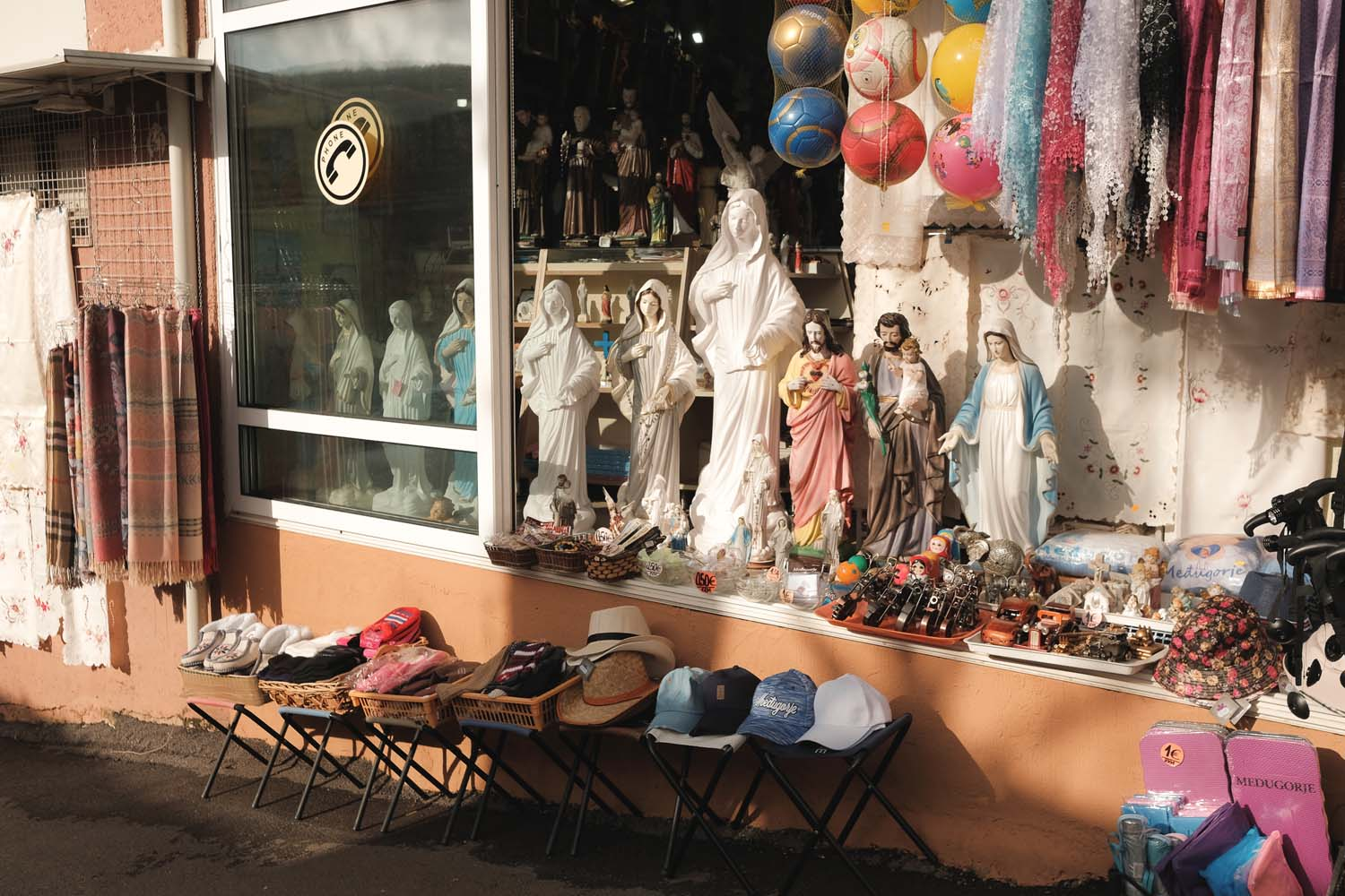 A store selling religious souvenirs and icons. November 2019.