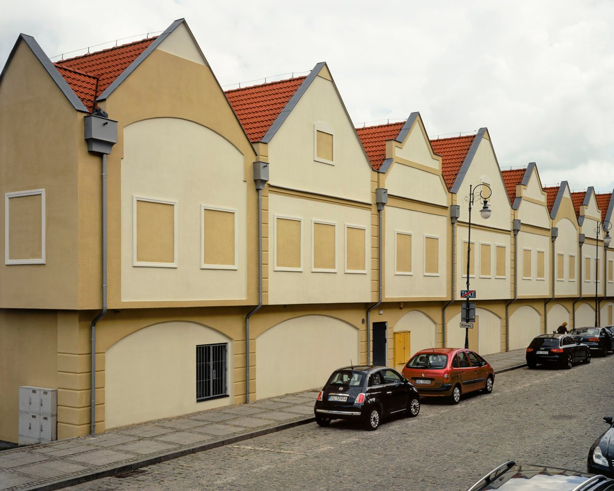 """A Lidl, the German discount grocer, in the newly built """"old city"""" in Głogów, Lower Silesia"""