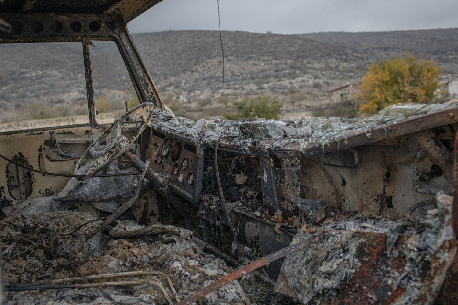 Two days after the war in Nagorno-Karabakh ended, I was driving to Martakert with a friend and we came across this truck hit during the fighting.