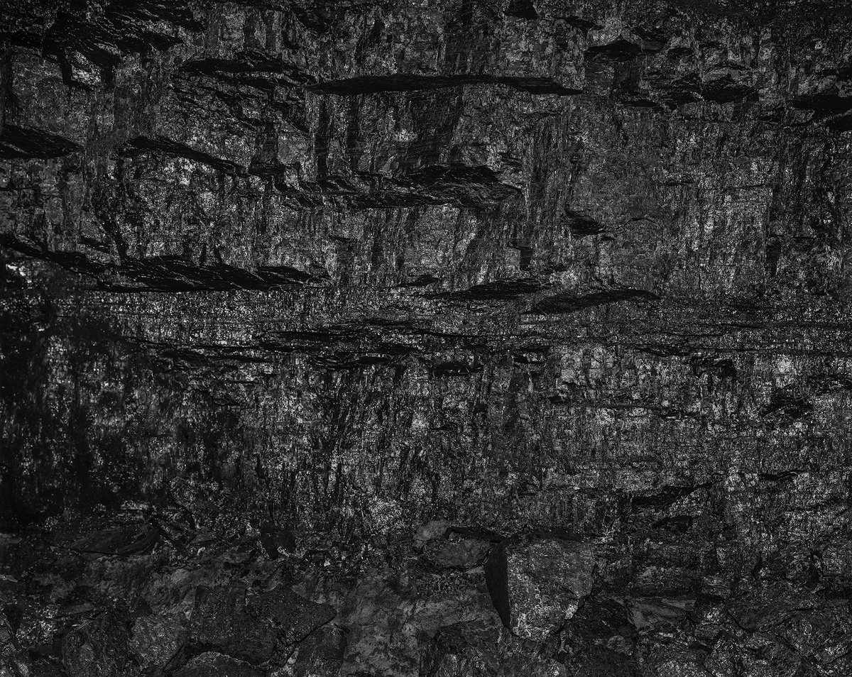 Wall of coal prepared for extraction, 550 meters underground, Wieczorek Mine in Katowice, Poland