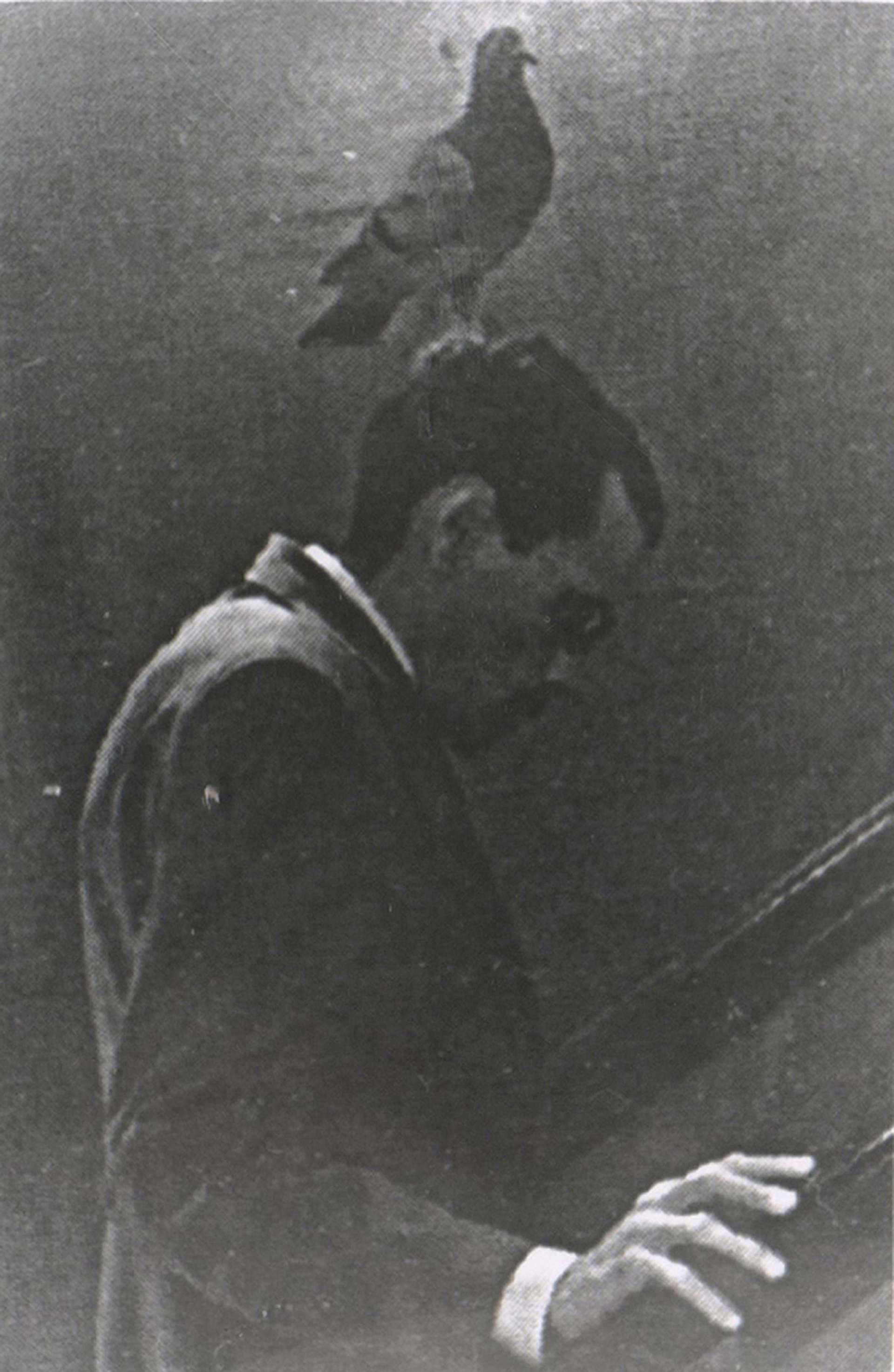 Spy with his spy-pigeon on a mission, 1949. The memoirs of Yan Khtovich, 2015-2017. Taking the form of a personal diary and memoir, the book included images, documents, collages, and contemporary photographs printed with vintage printing techniques