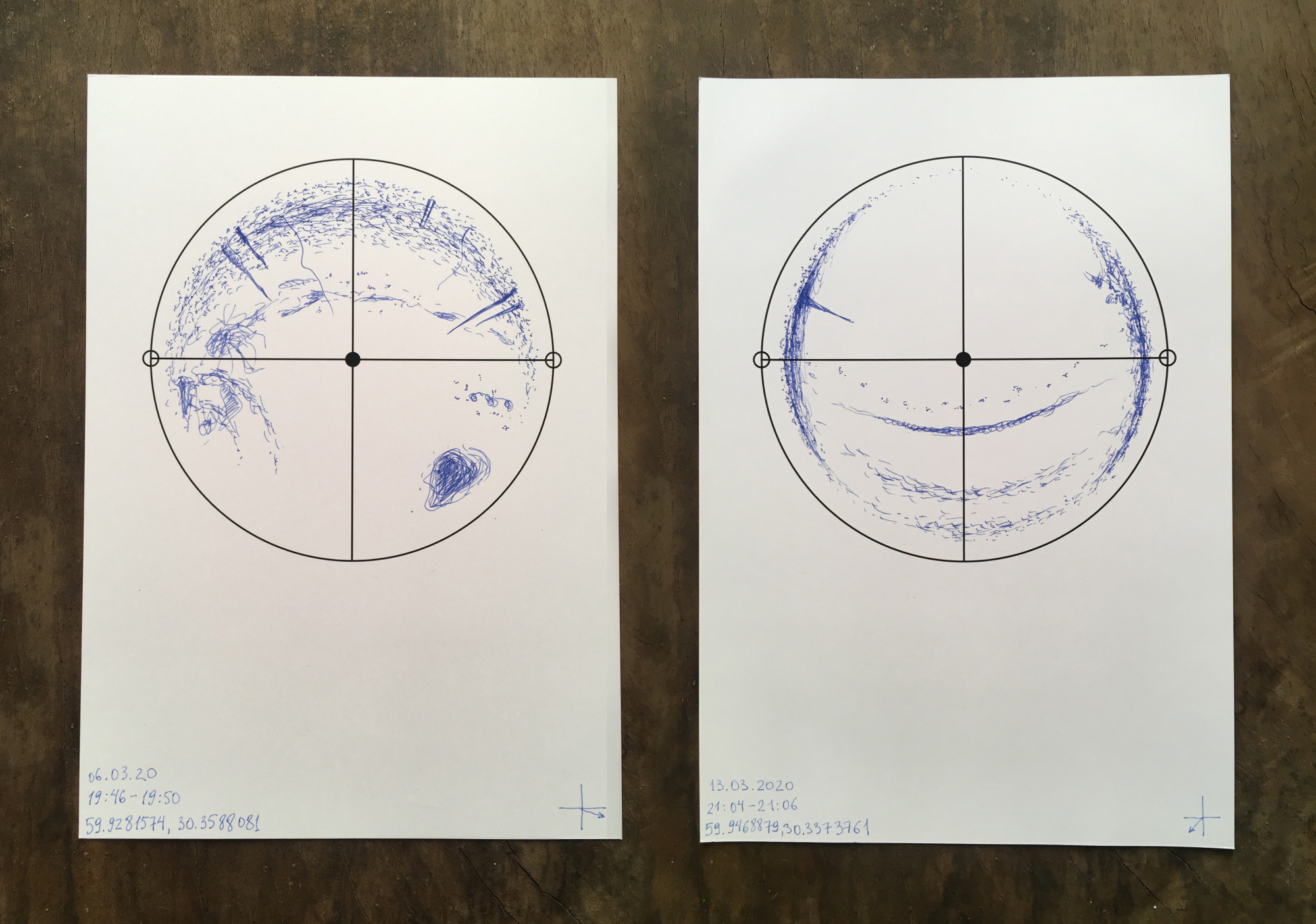 From Sound Maps project, 2020. Each map is a documentation of the soundscape in a specific point in space, with the coordinates indicated on the sheet