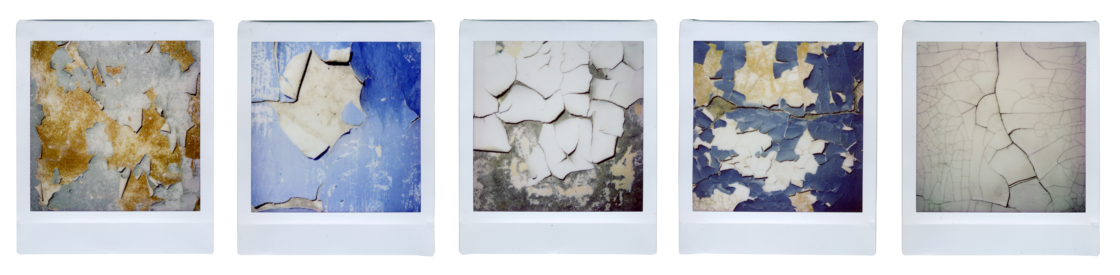 Persistent Variable, 2020. Instant photos for this projects were made in Alykel, abandoned pilots' village near Norilsk. Cracked painting and peeling wallpaper look like Arctic plants, capturing the fleeting life and human fragility