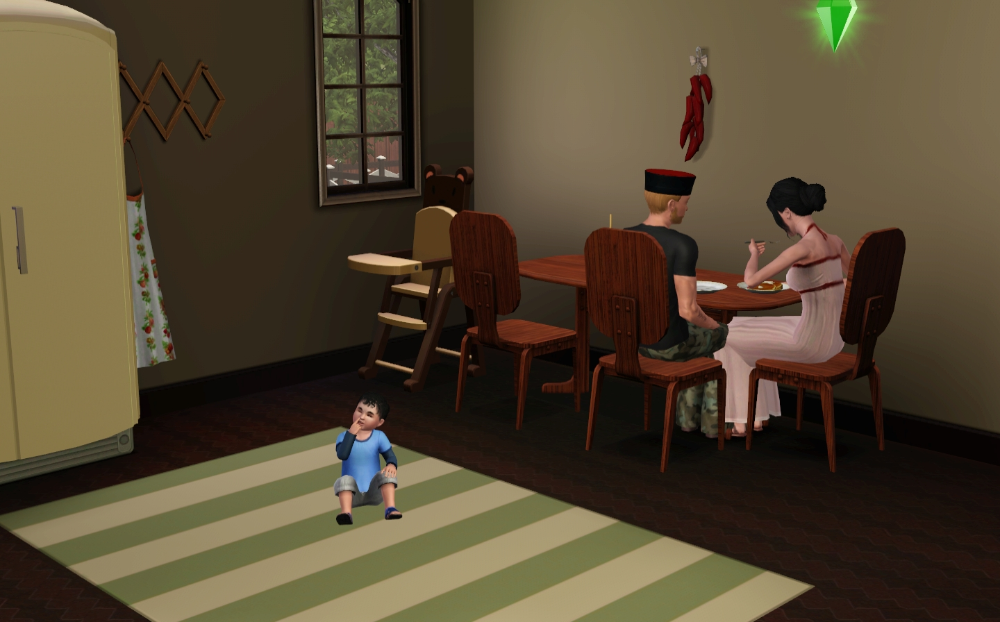 For the second part of Alpha Paradise (2018), the artist created a traditional Cossack family in the Sims 3 video game