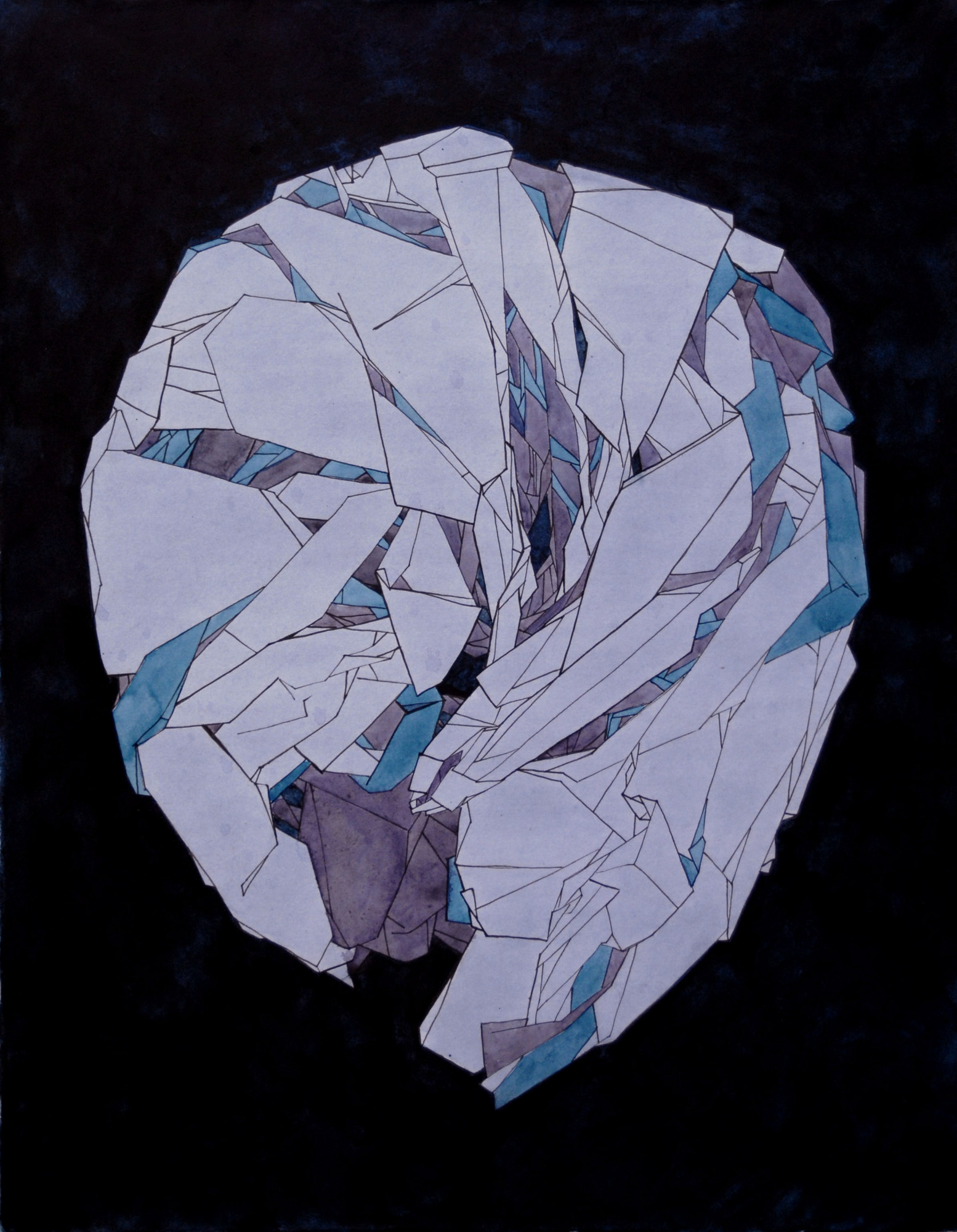 Kami no Yama (Paper Mountain), 2014. Crumpled paper serves as an image of compressing information without a possibility of restoring it