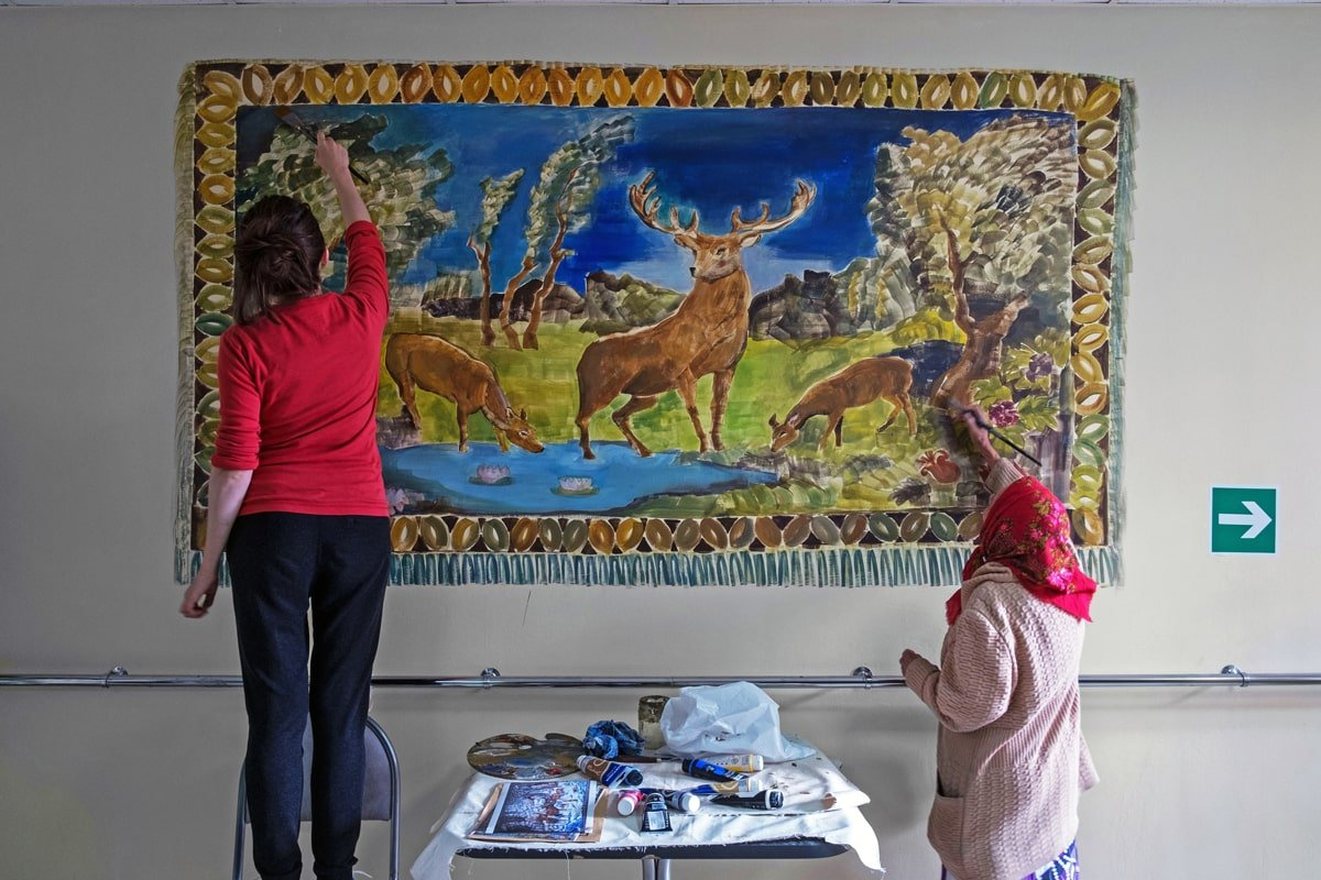 Mural painting Holidays at a care home in Russia, 2015
