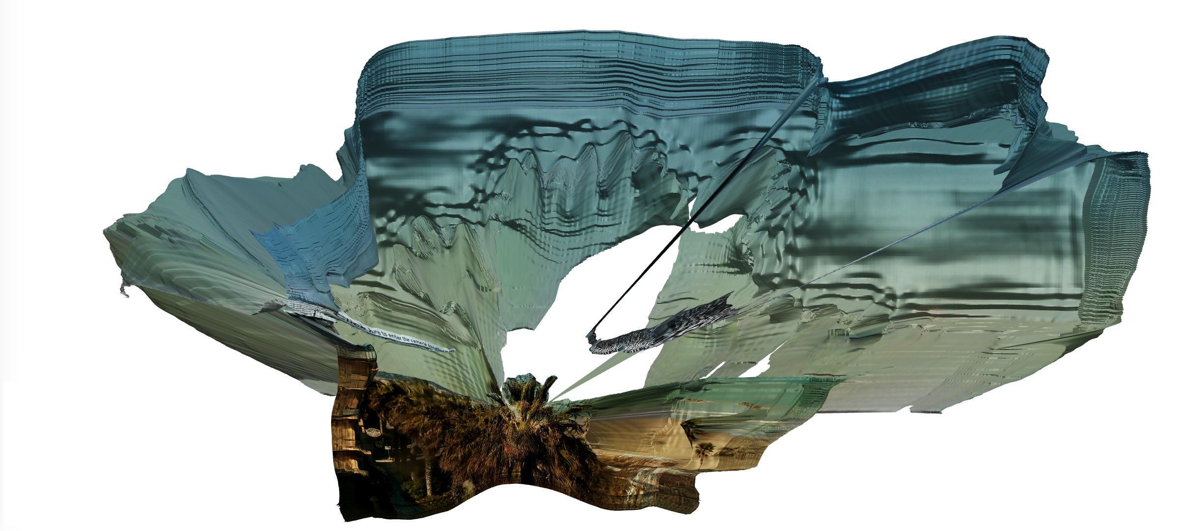 Floating Utopia Act 2, 2021. This utopia reconstructs the natural landscape, stitching together imaginary surfaces and myths of nature's damaged parts and ruptures