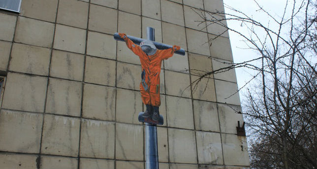 Police launch investigation into graffiti of crucified Yury Gagarin in Perm