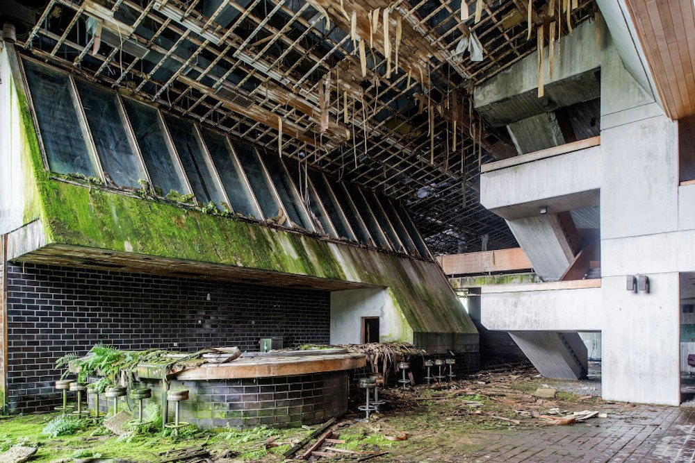 The ruined interior of a brutalist building in Croatia.  Image: Kramer under a CC licence.