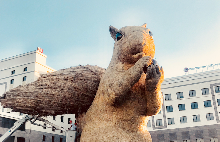 Almaty has gone nuts for its new 12-metre squirrel sculpture