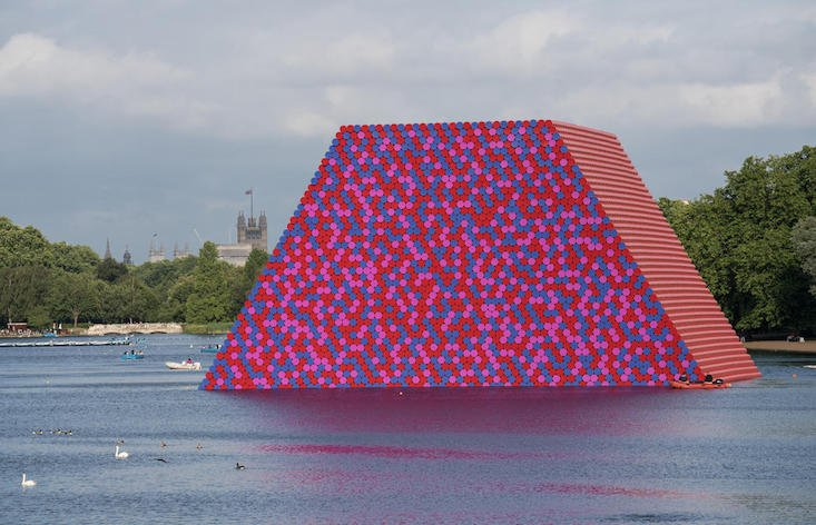 What is a supersize floating sculpture doing in London's Hyde Park?
