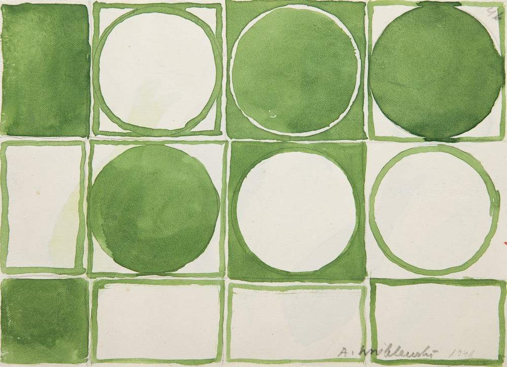 [Abstract Composition in Green, Abstract Composition no.46], Undated Watercolour on paper, 16.3 × 22.7 cm. Collection of Grażyna Kulczyk. © Andrzej Wróblewski Foundation