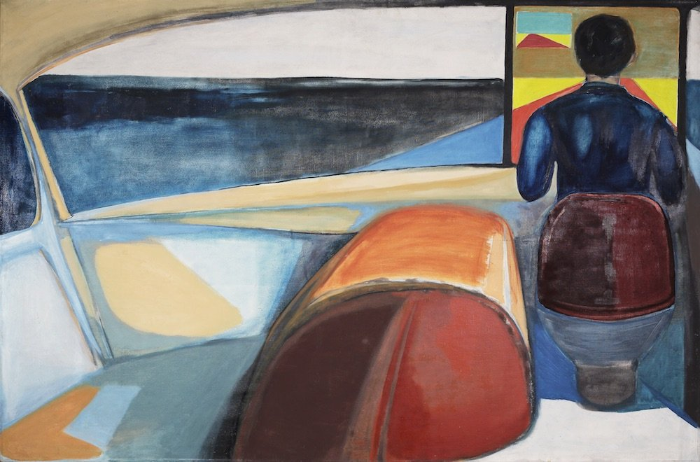 Chauffer (1956), Oil and pencil on canvas, 132 x 200.5 cm. Private Collection © Andrzej Wróblewski Foundation