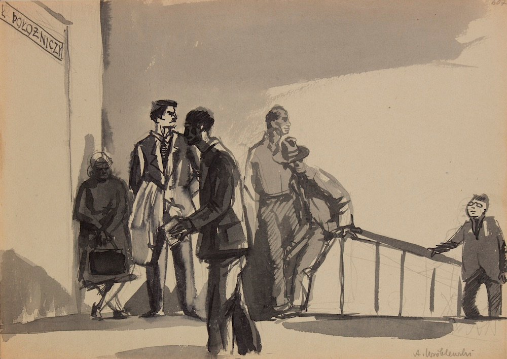 [Group Scene no.607] (1954), Ink on paper 29.7 x 42 cm Private Collection © Andrzej Wróblewski Foundation