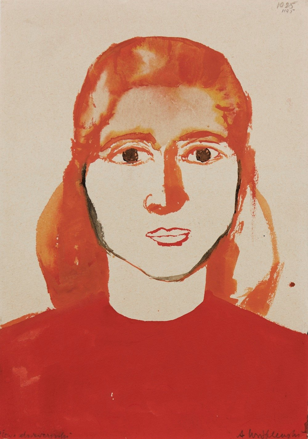 (Head of a Girl), [Head of a Girl no.1025], Undated Watercolour on paper, 29.7 x 21 cm. Private Collection  © Andrzej Wróblewski Foundation
