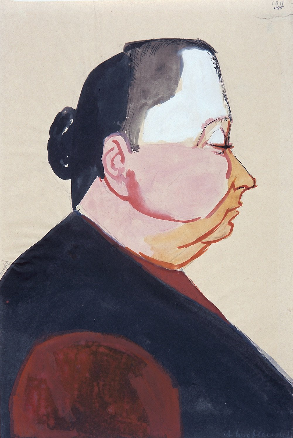 (Profile), [Profile no.1011], Undated  Watercolour and gouache on paper, 27.3 x 25 cm. Private Collection © Andrzej Wróblewski Foundation