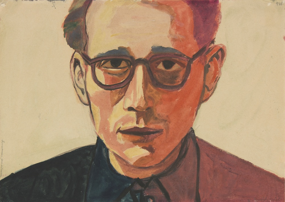(Self-Portrait in Red), Undated  Watercolour and gouache on paper, 29.5 × 41.7 cm. Private Collection © Andrzej Wróblewski Foundation