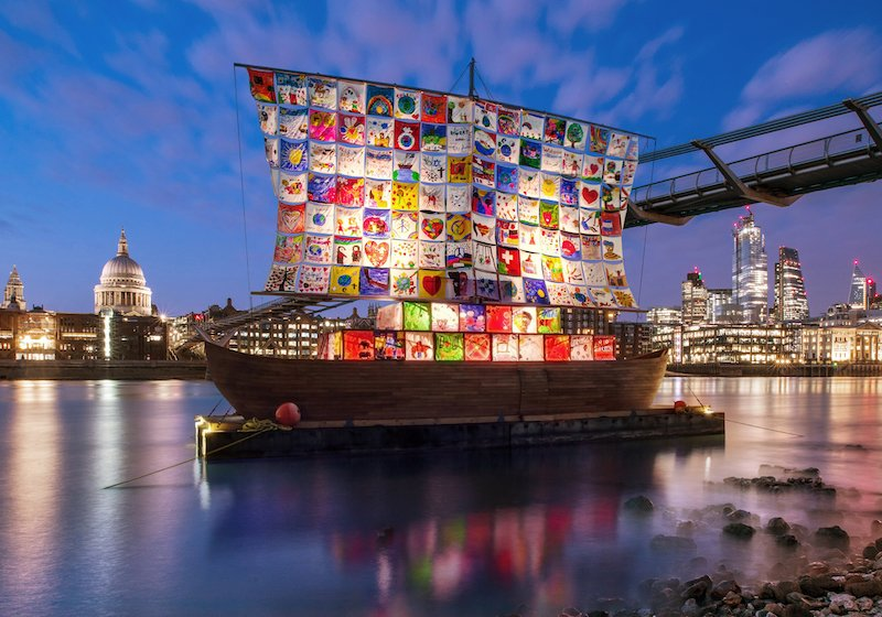 Get a glimpse of the Kabakovs' prize-winning Ship of Tolerance as it sets sail for London
