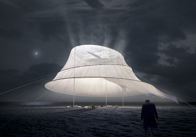 This translucent tent transforms into a cinema underneath the stars