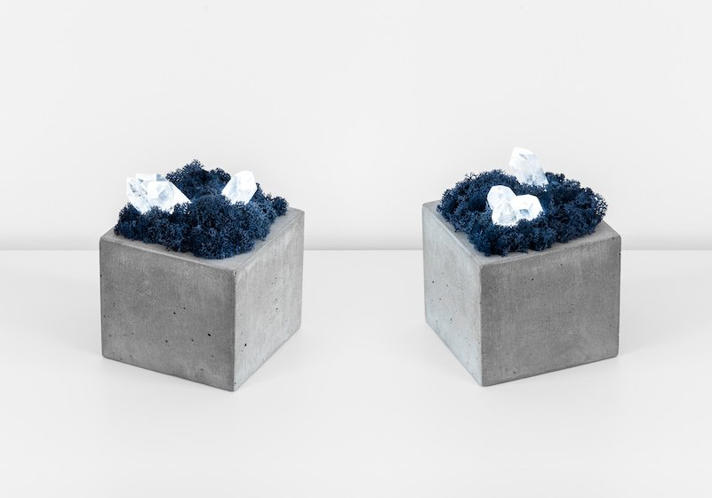 Brutalism meets fairytale chic with these lamps made from moss, crystals, and concrete