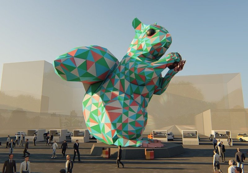 Almaty's controversial giant squirrel is getting a multi-coloured plastic makeover